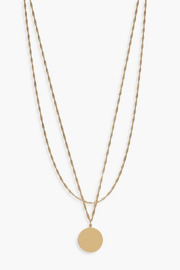 Womens Gold Twist Chain And Coin Layered Necklace