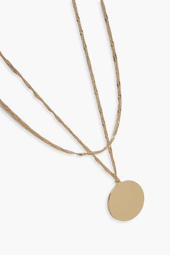 Twist Chain And Coin Layered Necklace