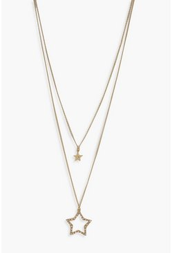 Womens Gold Diamante Double Star Layered Necklace