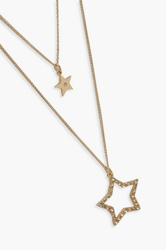 Diamante Double Star Layered Necklace