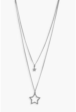 Womens Silver Diamante Double Star Layered Necklace