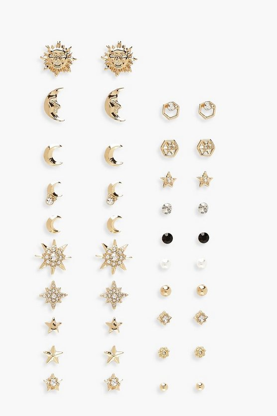 Gold 20 Bumper Pack Celestial Stud Earrings