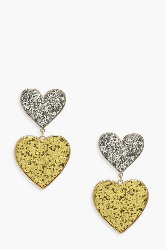Double Glitter Heart Statement Earrings