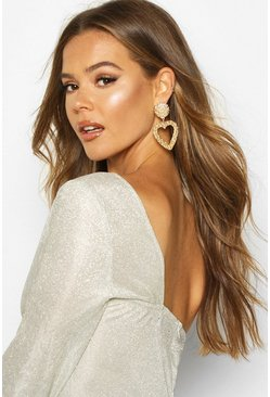 Gold Textured Heart Oversized Statement Earrings