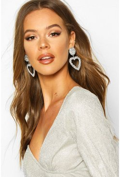 Silver Textured Heart Oversized Statement Earrings