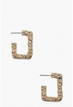 Womens Gold Textured Mini Rectangle Hoops