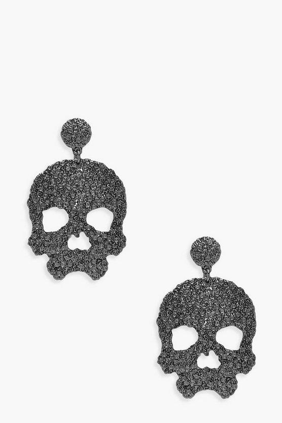 Halloween Textured Skull Statement Earrings