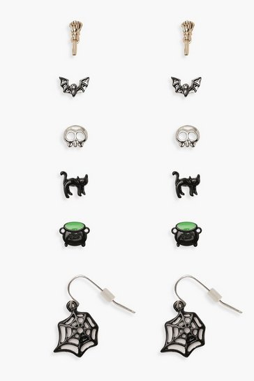Womens Green Halloween Novelty Stud 6 Earring Pack
