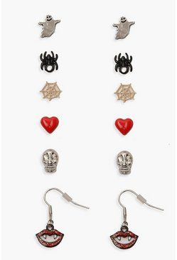 Womens Red Halloween Novelty Stud 6 Earring Pack