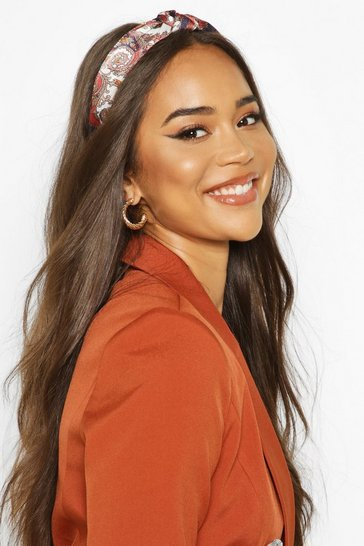 Red Paisley Print Twist Knot Structured Headband