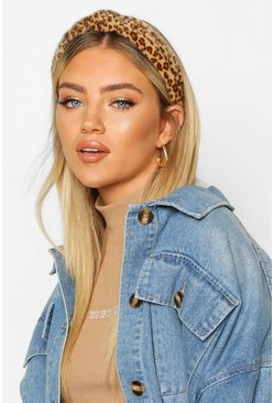 Dam Natural Faux Fur Leopard Twist Knot Headband