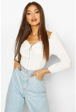 Womens White Long Sleeve Zip Front Peasant Crop Top
