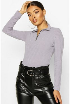 Grey Soft Rib Zip Through Long Sleeve Top
