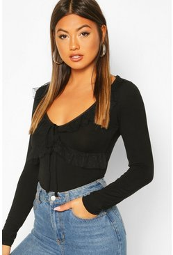 Black Polka Dot Mesh Smock Top