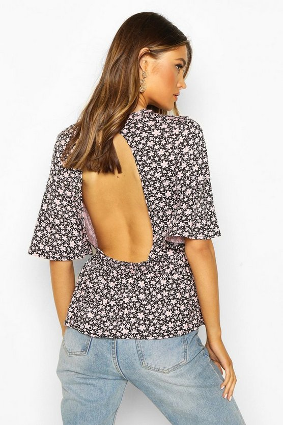Ditsy Floral Peplum Open Back Top