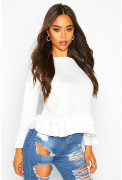 White Rib Ruffle Detail Top