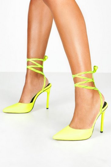 Womens Neon-yellow Reflective Lace Pointed Toe Courts