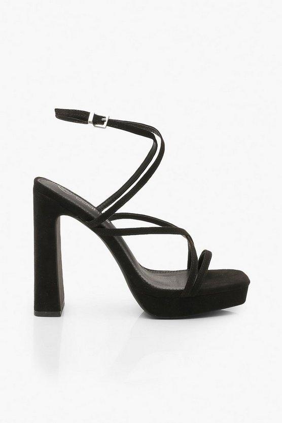 Block Heel Platform Strappy Heels