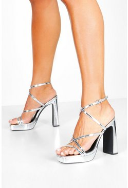 Womens Silver Square Toe Strappy Platform Block Heels