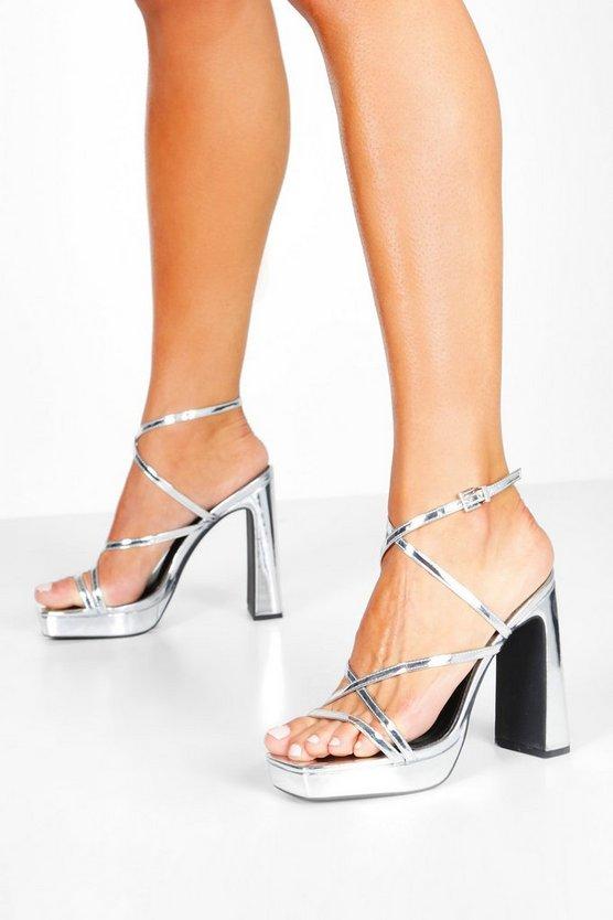 Square Toe Strappy Platform Block Heels