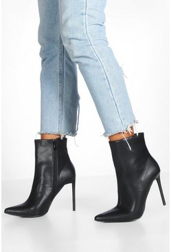 Dam Black Glossy Heel Pointed Shoe Boots