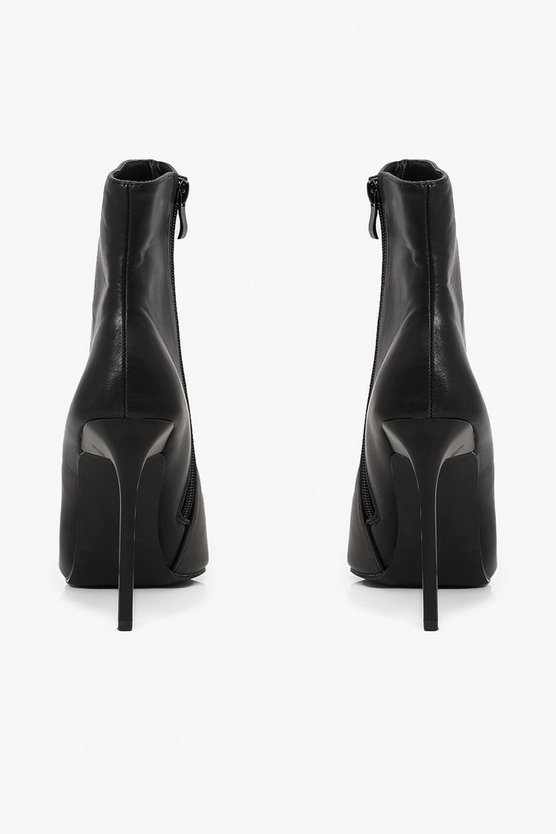 Glossy Heel Pointed Shoe Boots