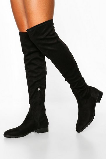 Womens Black Flat Cleated Knee Boots