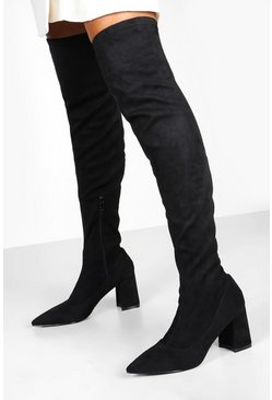 Womens Black Pointed Low Heel Knee Boots