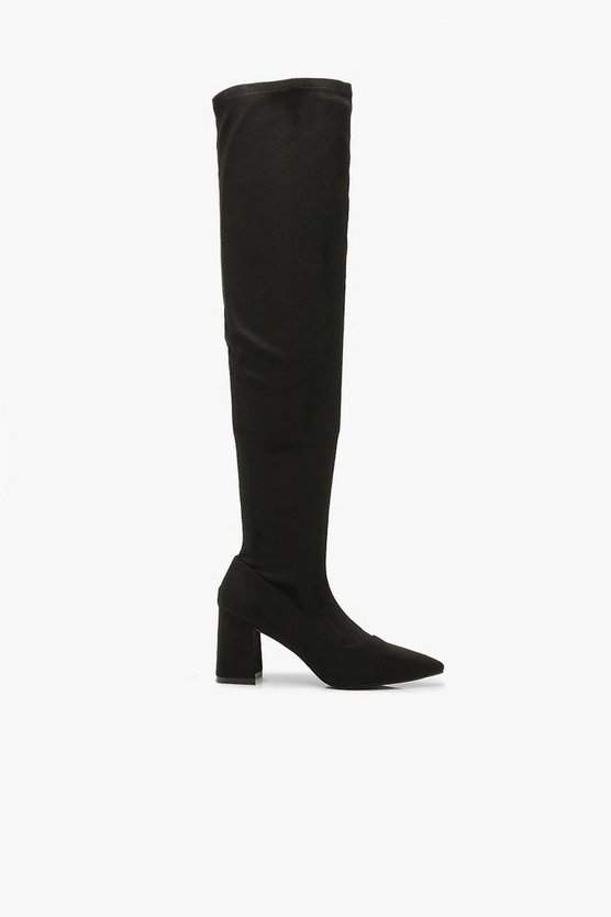 Pointed Low Heel Knee Boots