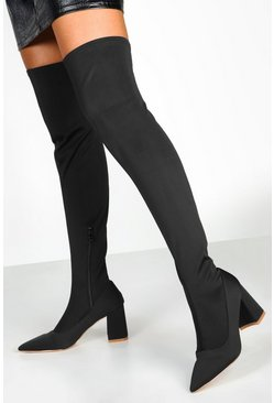 Womens Black Pointed Low Block Heel Knee Boots