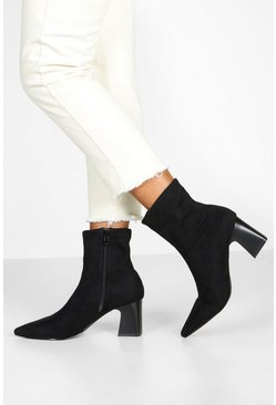 Womens Black Low Block Heel Sock Boots