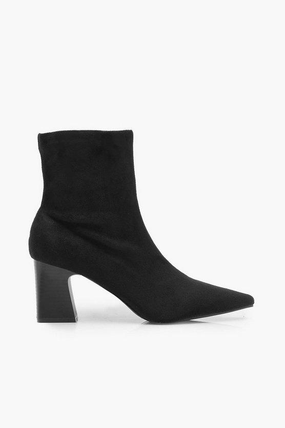 Low Block Heel Sock Boots