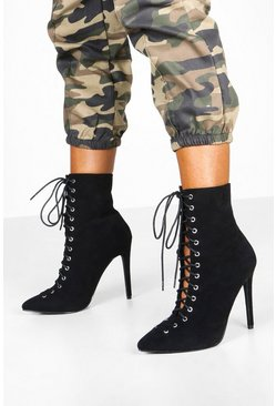 Black Lace Up Stiletto Shoe Boots