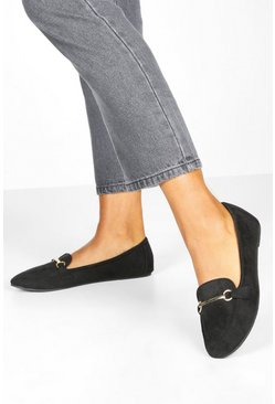 Womens Black Bar Slipper Ballet Pumps