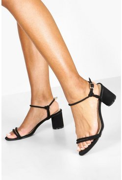 Black Cylinder Block Heel Sandals