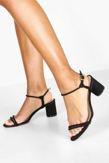 Womens Black Cylinder Block Heel Sandals