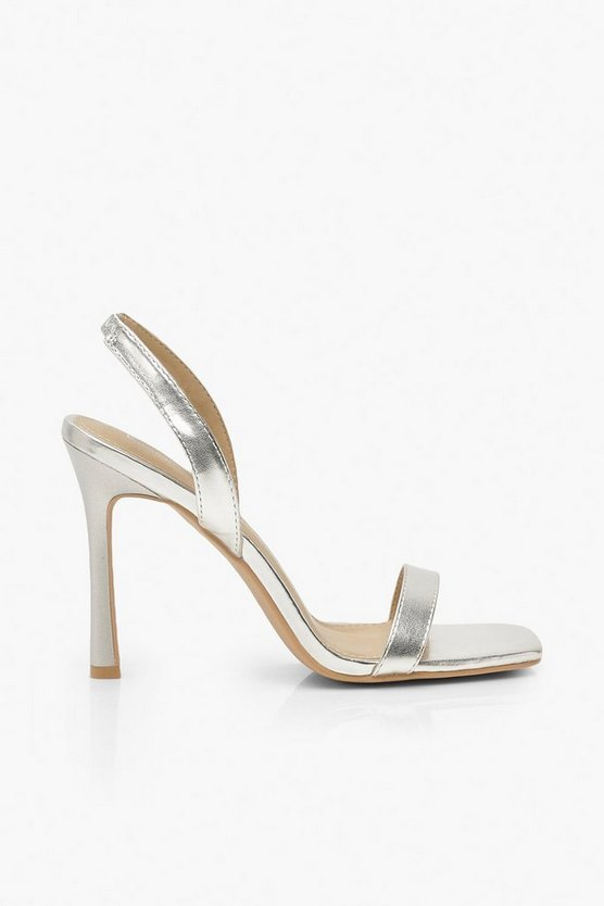 Metallic Slingback Glossy Heel Sandals