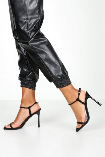 Womens Black Square Toe Skinny Strap Heels
