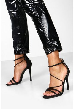 Womens Black Strappy Stiletto Sandals