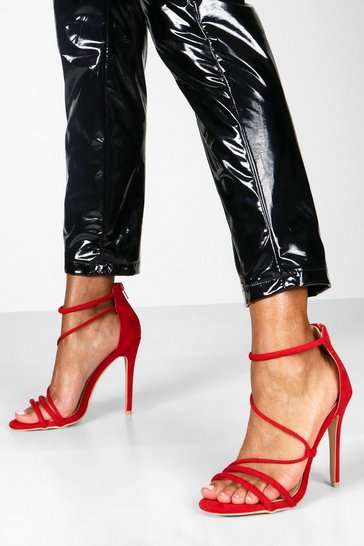 Womens Red Strappy Stiletto Sandals