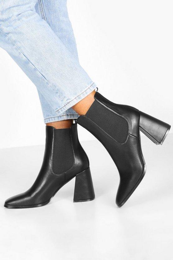 Flare Block Heel Chelsea Boots