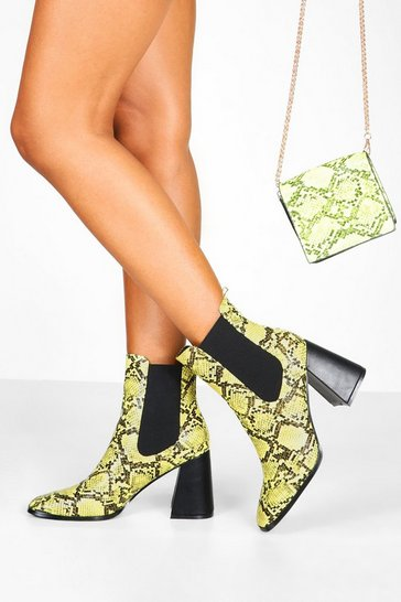 Lime Flare Snake Block Heel Chelsea Boots