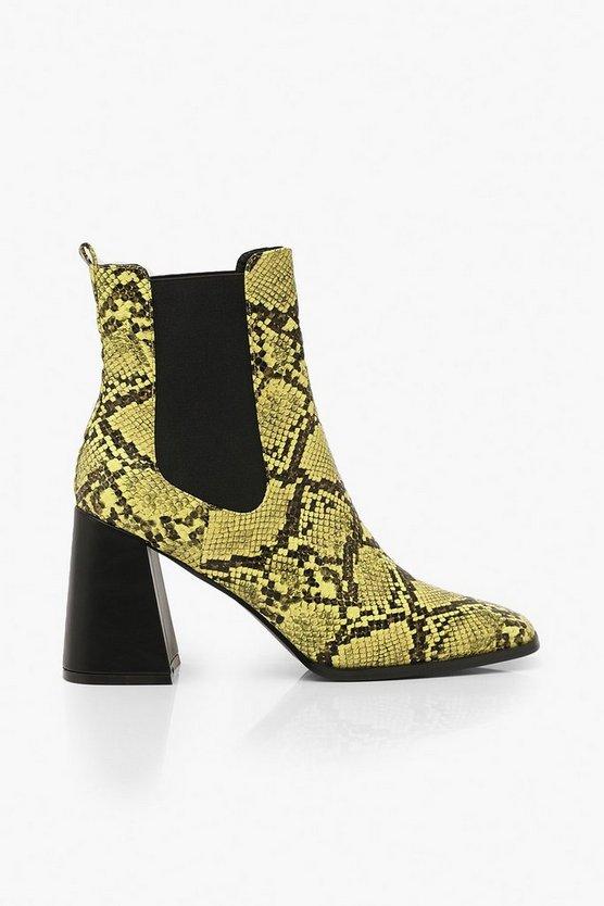 Flare Snake Block Heel Chelsea Boots