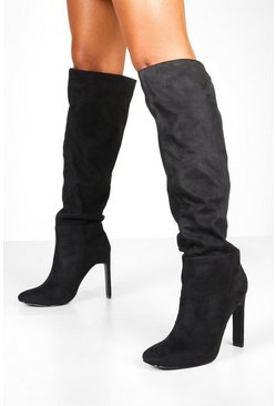 Womens Black Flat Heel Square Toe Knee Boots