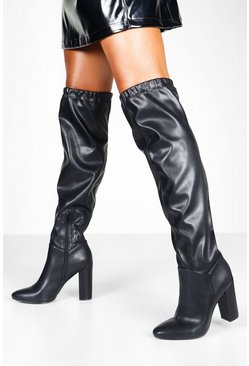 Womens Black Ruched Block Heel Knee Boots