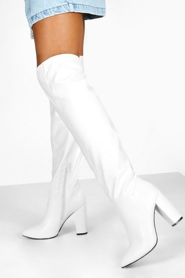 Womens White Ruched Block Heel Knee Boots