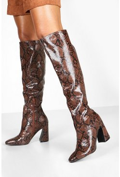 Brown Flare Heel Snake Knee Boots