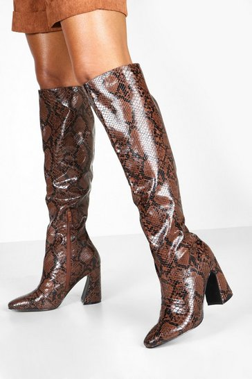 Womens Brown Flare Heel Snake Knee Boots