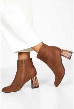 Dam Chocolate Clear Feature Heel Shoe Boots