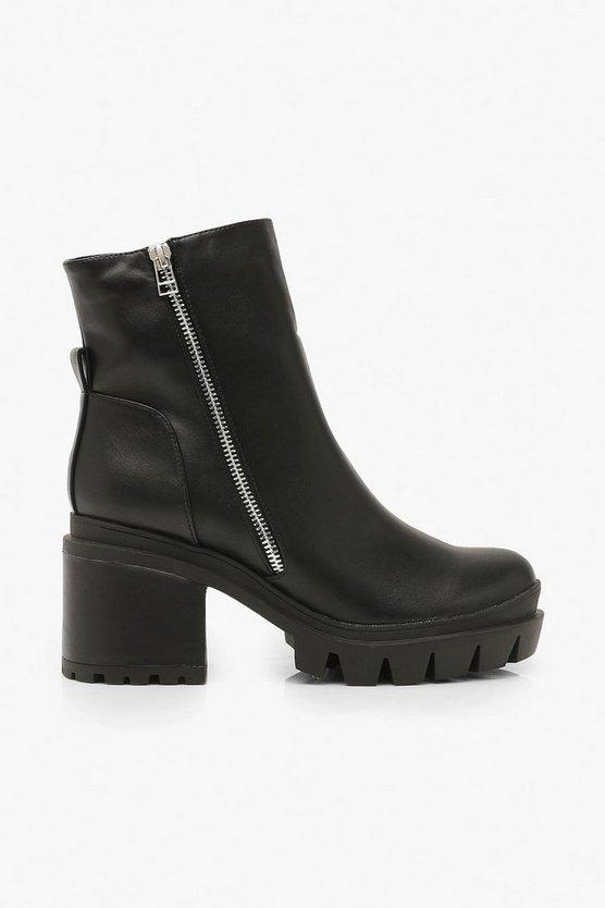 Zip Side Chunky Platform Boots
